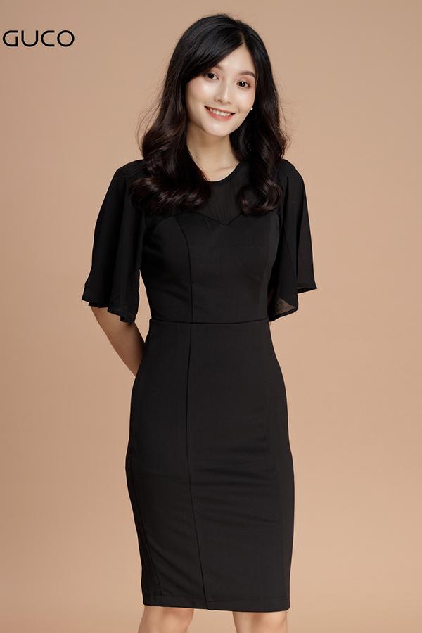 Đầm ôm body dự tiệc tay voan 1204 màu đen