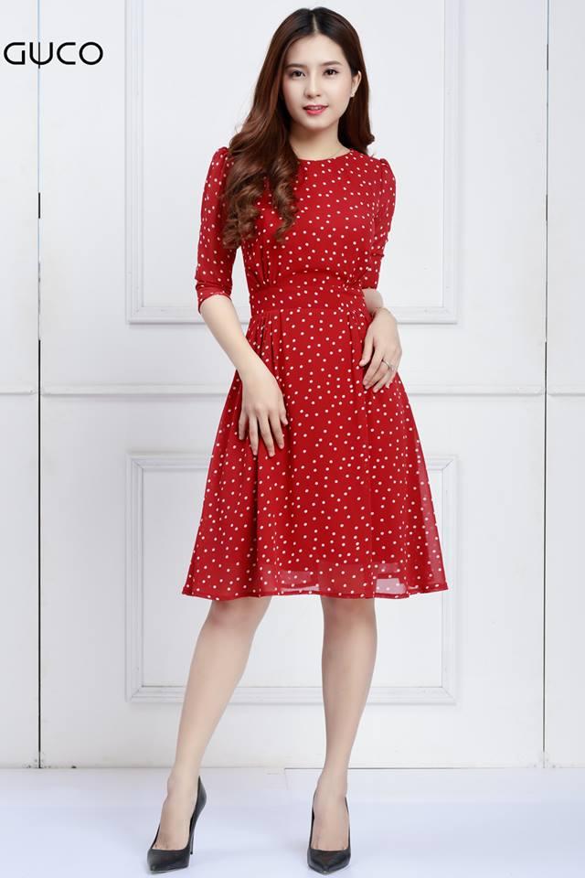 Đầm xòe chấm bi tay lỡ 1569 đỏ