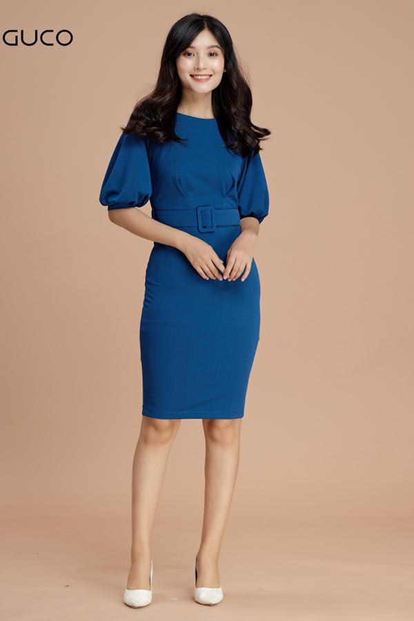 Đầm ôm body dự tiệc kèm belt 1583 màu xanh