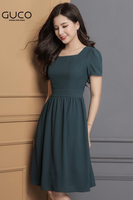 Đầm xòe công sở cổ vuông màu xanh 1603