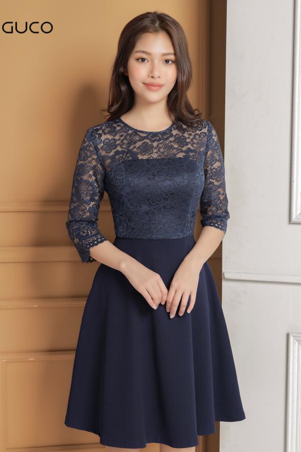 Đầm xòe ren hoa có lót cực sang 1607 xanh đậm