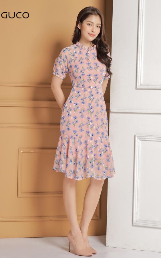 Đầm voan ôm body chân váy đuôi cá in hoa 1611 màu hồng