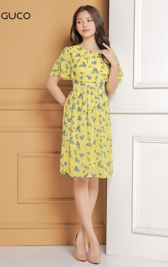 Đầm voan xòe đính ngọc trai 1615 màu vàng