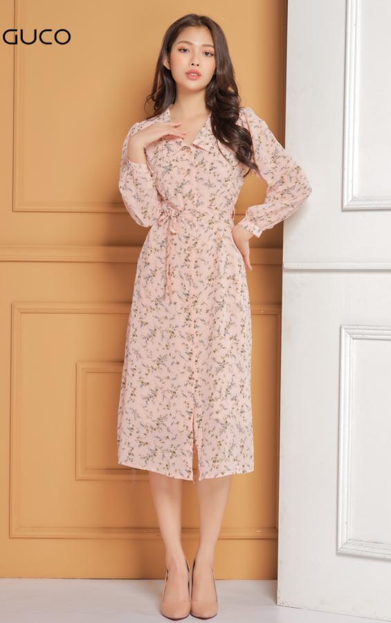 Đầm xòe nhẹ cổ sơ mi in hoa nhí 1622 màu hồng