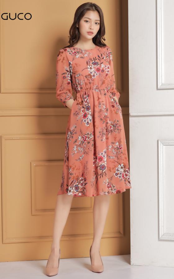 Đầm voan dạo phố dáng xòe 1623 màu cam