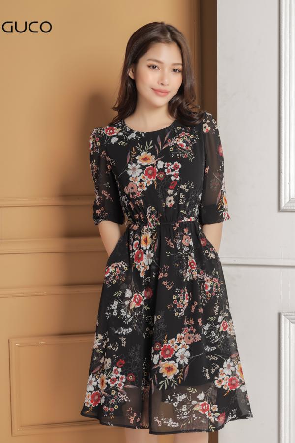 Đầm voan xòe in hoa dạo phố 1623 màu đen