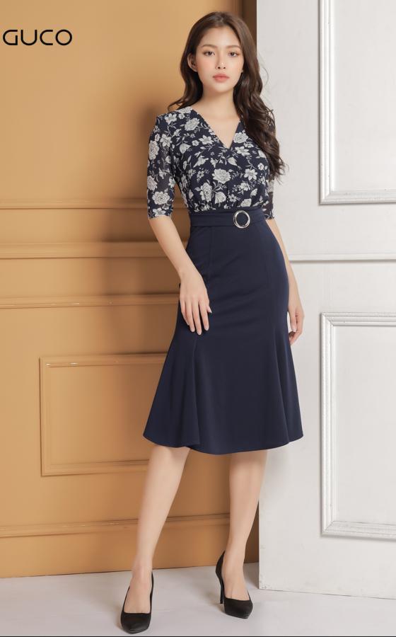 Đầm ôm body dự tiệc in hoa 1626 xanh đen
