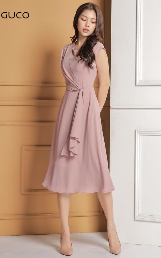 Đầm dự tiệc dáng xòe nhẹ 1629 màu hồng