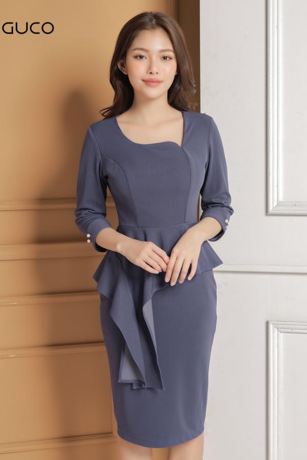 Đầm ôm body cổ kiểu eo có peplum 1630 xanh