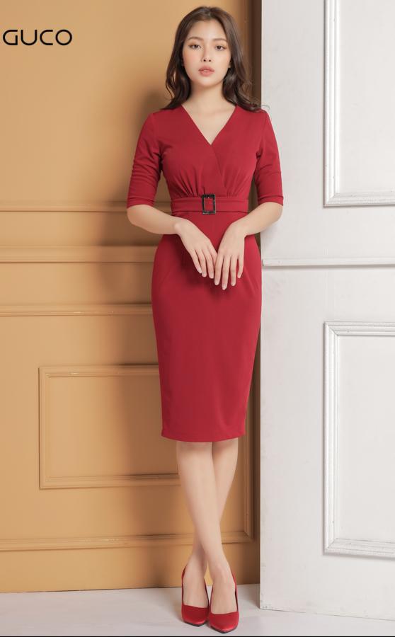 Đầm dự tiệc dáng ôm kèm belt 1633 màu đỏ