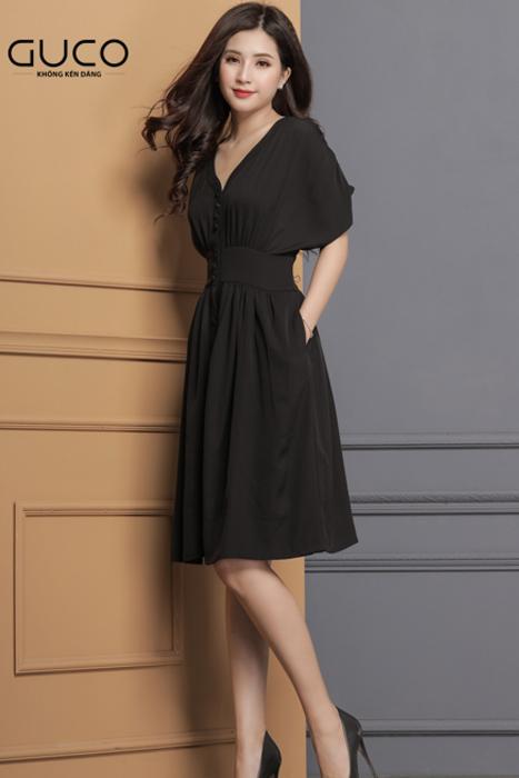 Đầm dự tiệc cánh dơi dáng xòe màu đen 1635