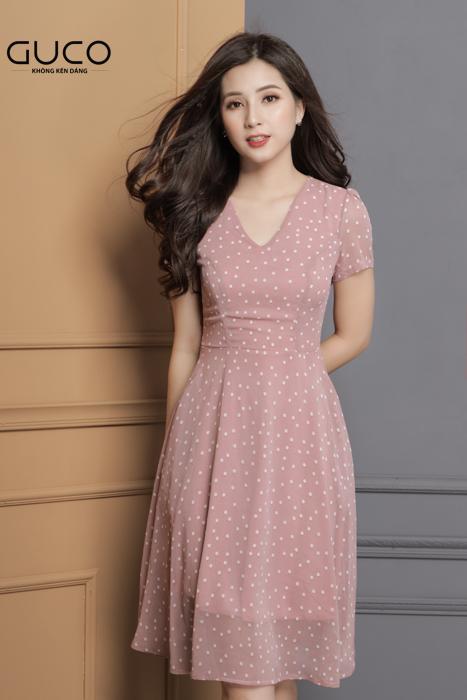 Đầm xòe dự tiệc màu hồng chấm bi trắng 1638