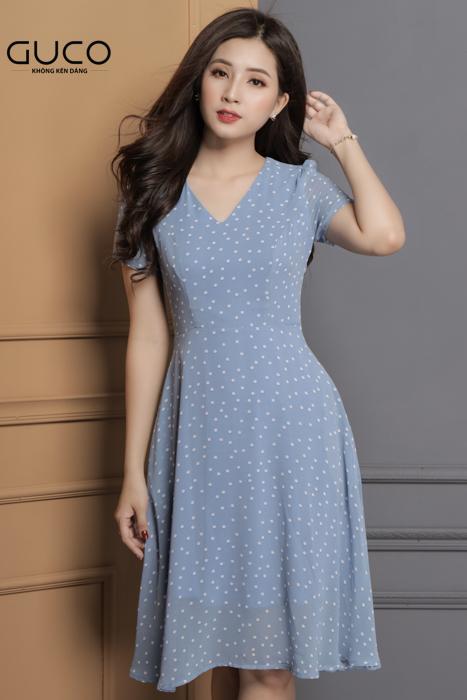 Đầm voan xòe dự tiệc hoặc dạo phố 1638 màu xanh