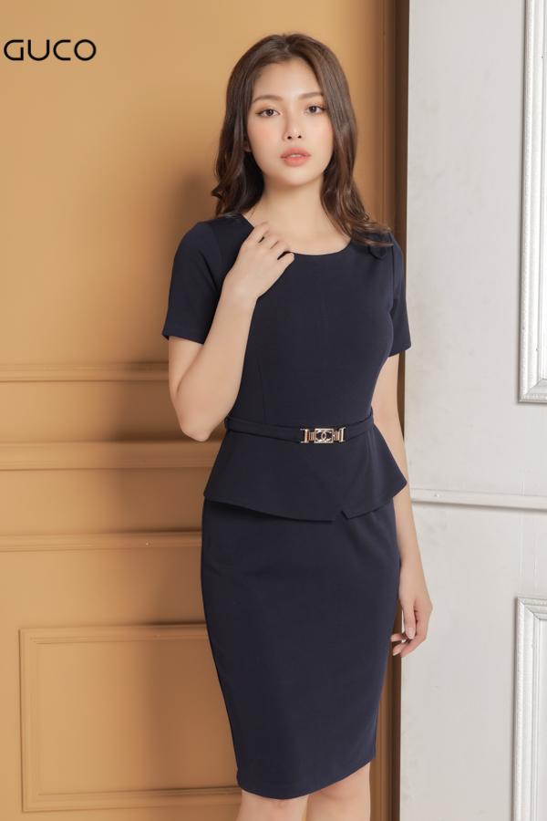 Đầm công sở ôm body tôn dáng 1640 xanh đen