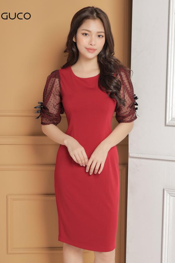 Đầm ôm body dự tiệc tay lưới 1641 màu đỏ