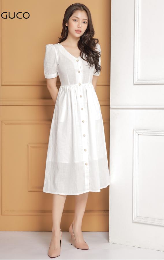 Đầm xòe dự tiệc tay phồng sang trọng 1643 màu trắng