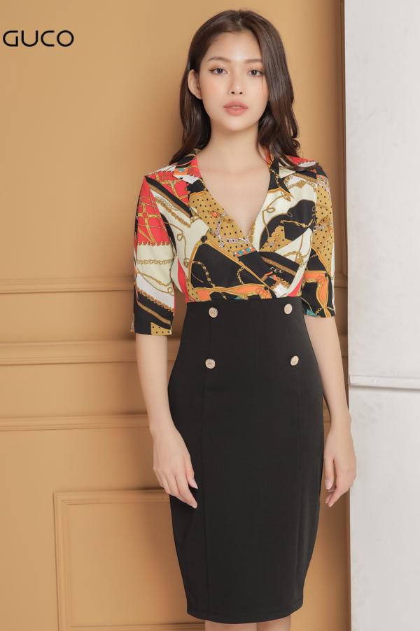 Đầm ôm body công sở cổ vest siêu sang 1644