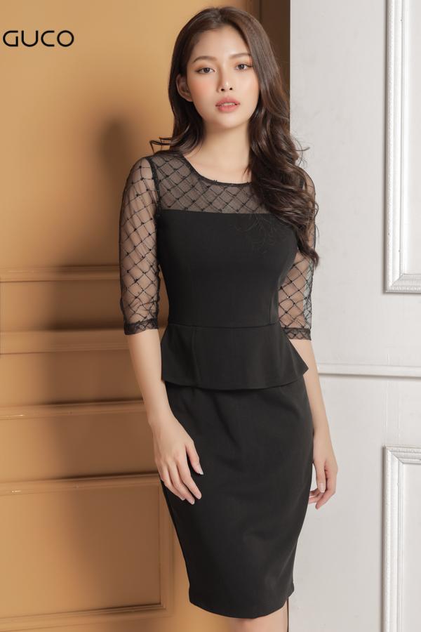 Đầm ôm body dự tiệc phối kim sa cực sang 1646 đen