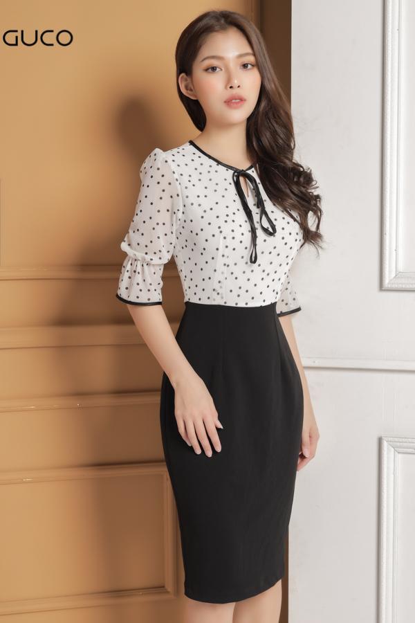 Đầm ôm body chấm bi thắt nơ cổ 1648 trắng