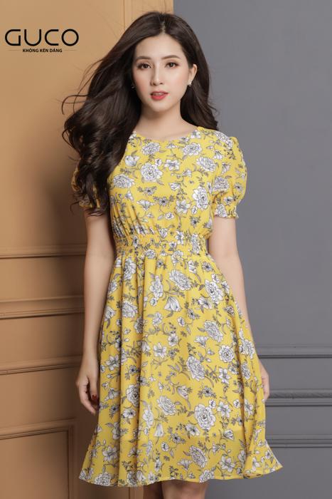 Đầm voan xòe in hoa màu vàng 1651