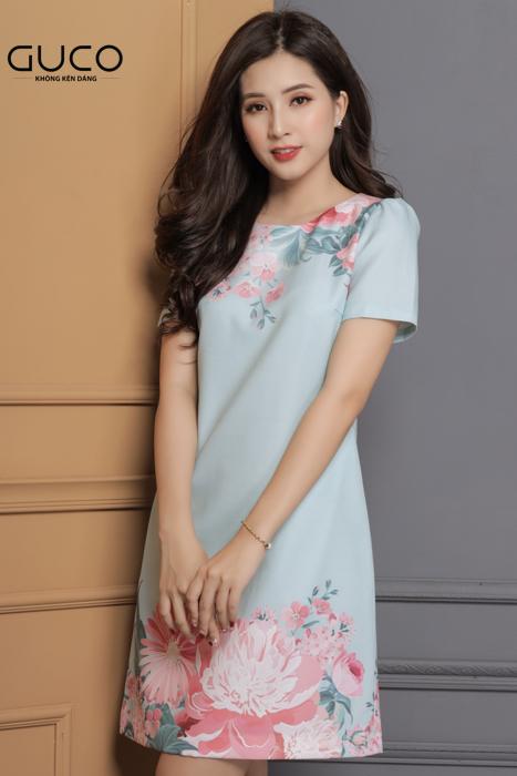 Đầm suông công sở in hoa 1656 màu xanh