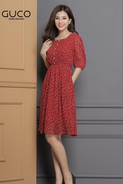Đầm xòe công sở màu đỏ phối bi trắng 1659