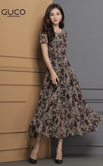 Đầm xòe dáng dài dạo phố 1666 màu tím