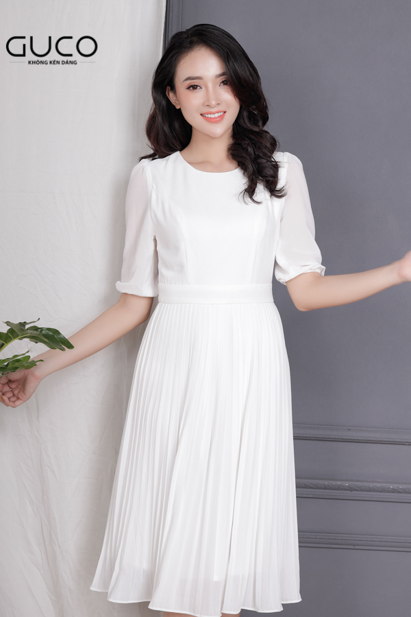 Đầm voan dáng xòe mặc dự tiệc siêu xinh 1668 trắng