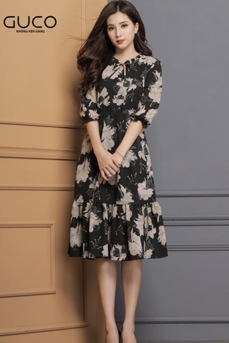 Đầm voan xòe dạo phố in hoa 3D 1671 màu đen