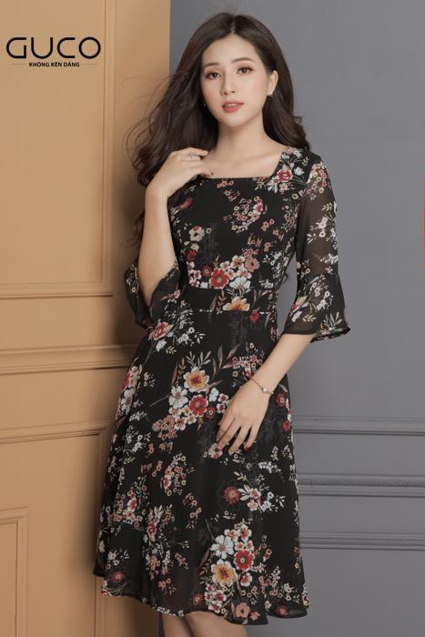 Đầm xòe in hoa dự tiệc 1672 màu đen