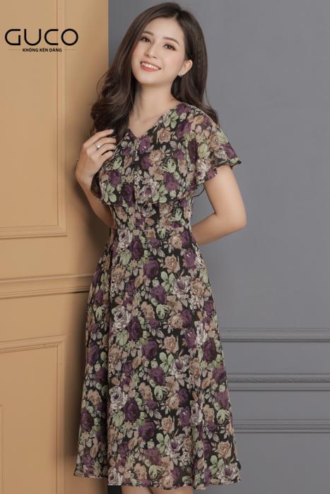 Đầm xòe voan in hoa 1674 màu tím