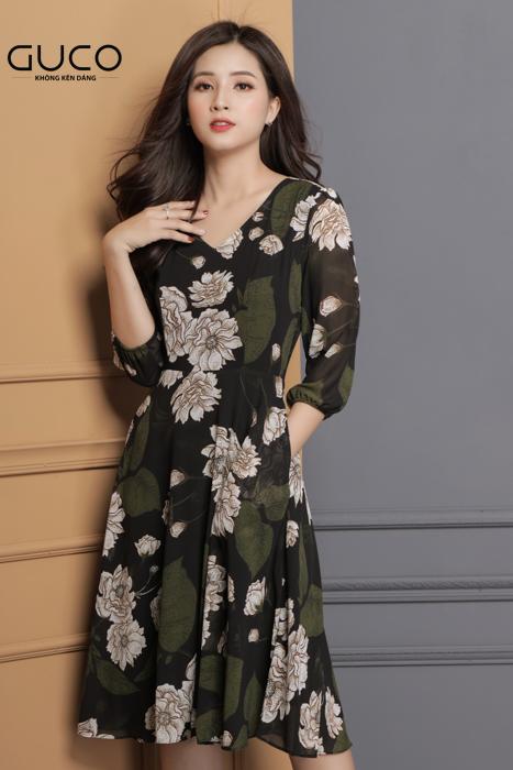 Đầm voan xòe in hoa đẹp 1675 màu xanh rêu