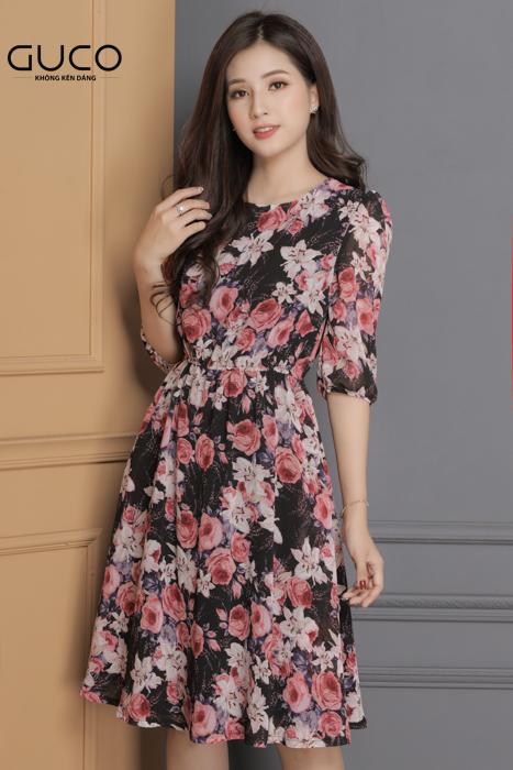 Đầm xòe hoa vải voan 1676 màu đen