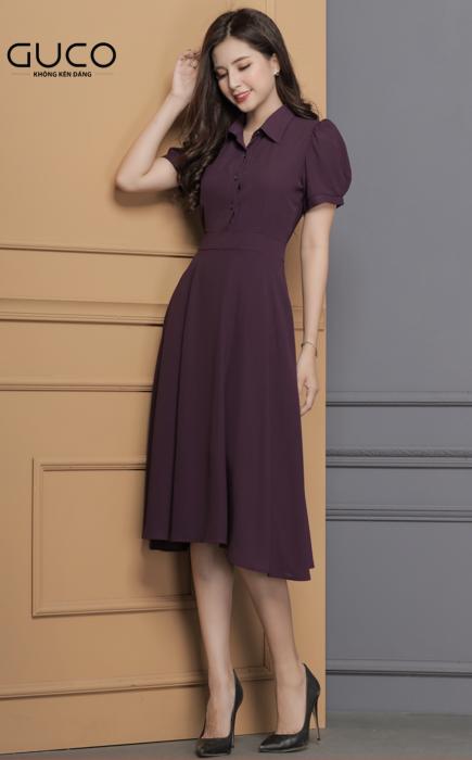Đầm công sở cổ sơ mi màu tím 1679