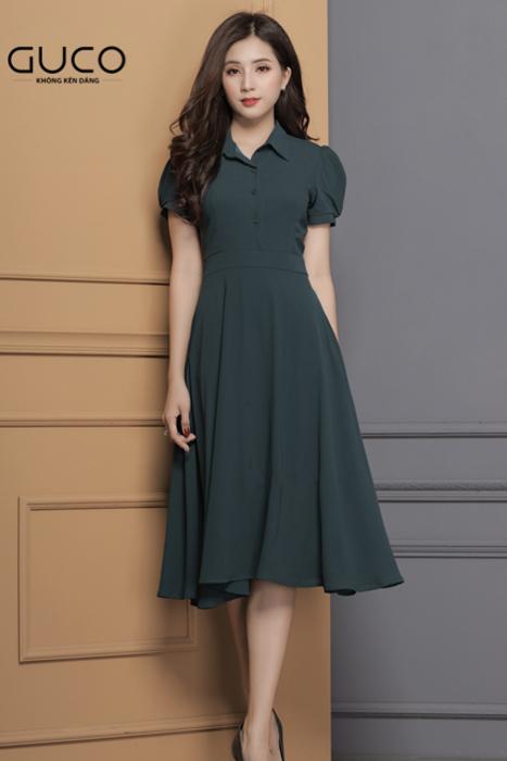 Đầm công sở cổ sơ mi 1679 màu xanh