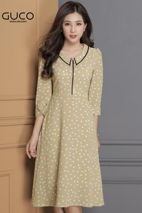 Đầm xòe công sở phối chấm bi 1684 màu xanh bơ