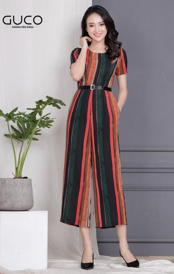 Jumpsuit quần rộng kèm belt 1691 phối nhiều màu