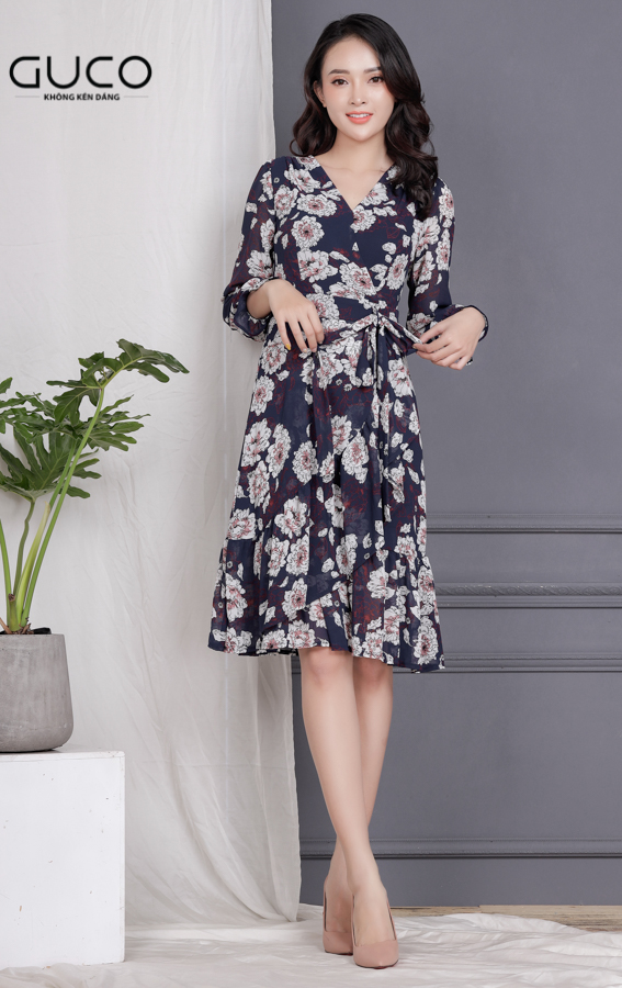 Đầm voan hoa mặc dự tiệc 1704 màu xanh đen