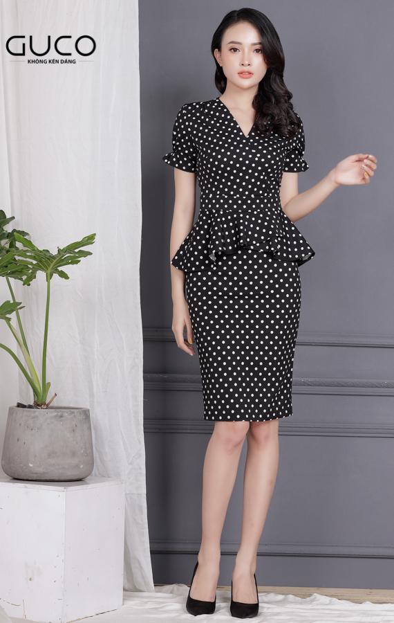 Đầm ôm body công sở 1705 màu đen chấm bi trắng
