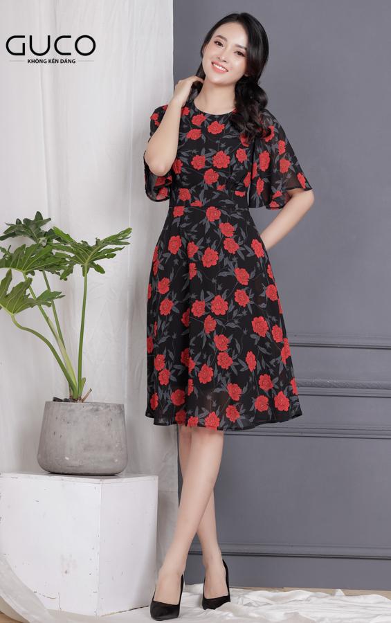 Đầm xòe vải voan có in hoa 1709 màu đen