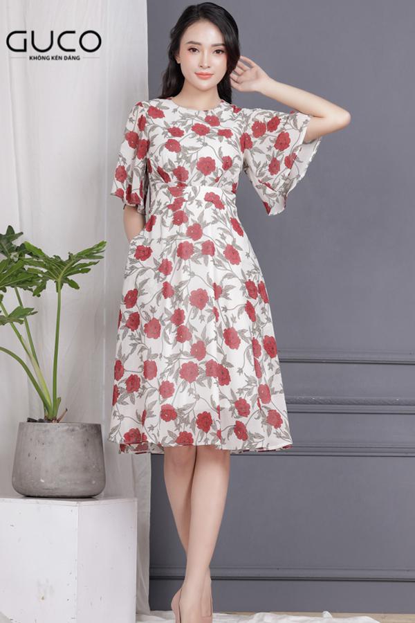 Đầm xòe voan có in hoa 1709 màu trắng