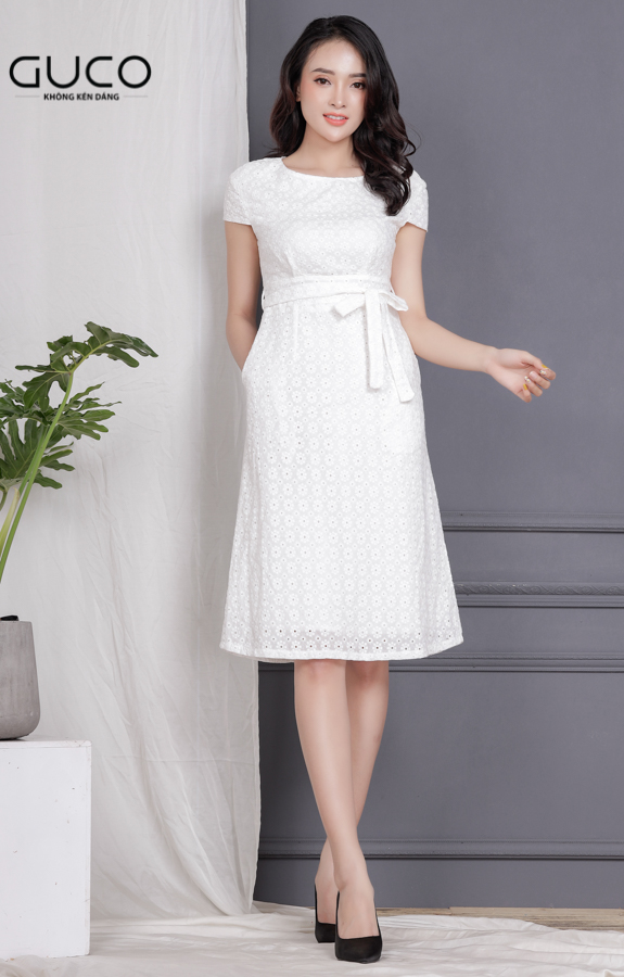 Đầm xòe phối dây eo 1710 màu trắng