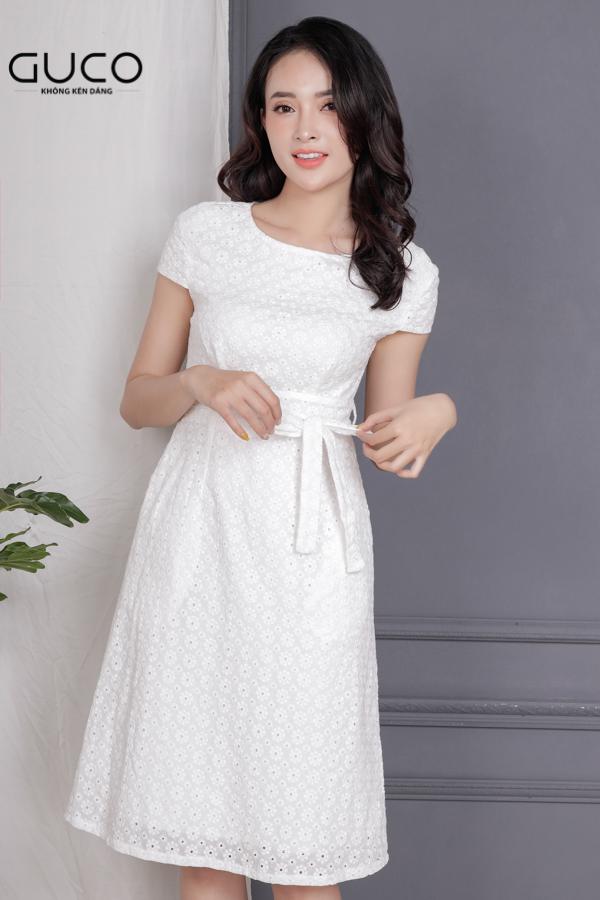 Đầm xòe dự tiệc phối dây eo 1710 màu trắng