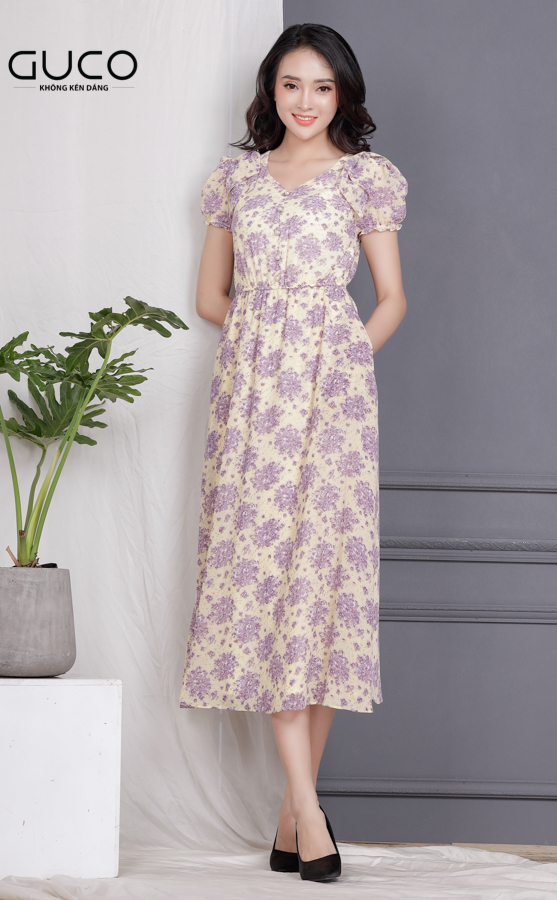 Đầm voan xòe có in hoa đẹp 1714 màu vàng