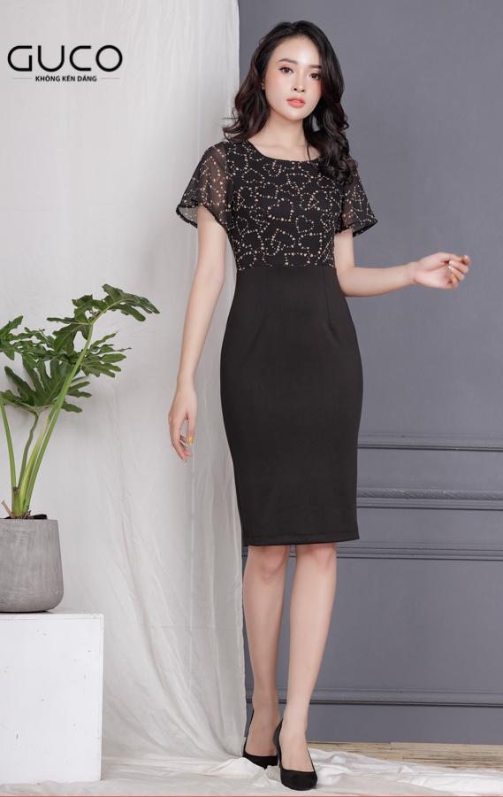 Đầm công sở dáng ôm body 1725 màu đen