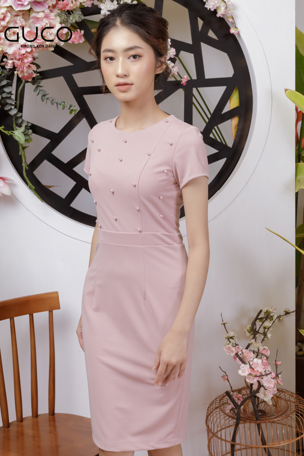 Đầm dự tiệc cao cấp có đính ngọc trai 1772 màu hồng