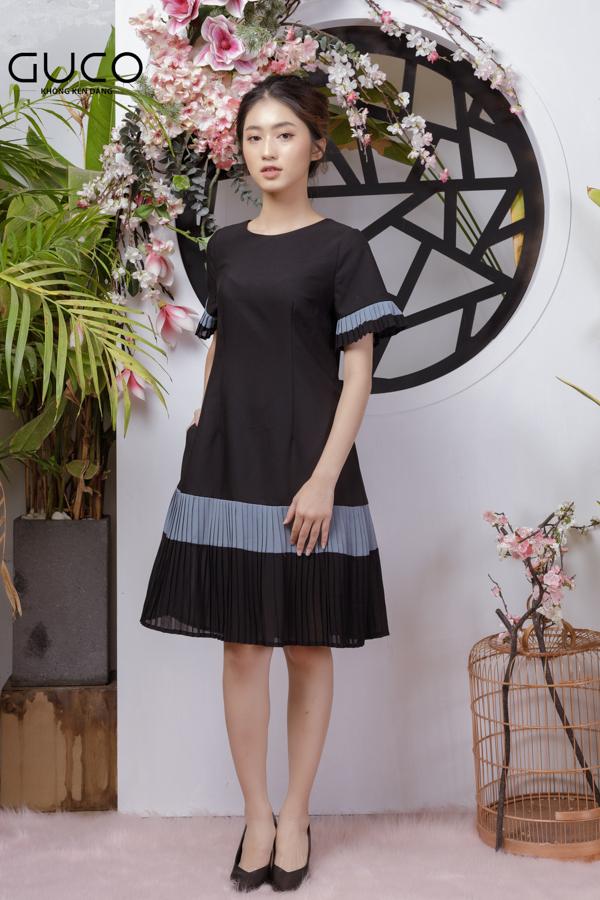Đầm suông dập ly 1774 màu đen