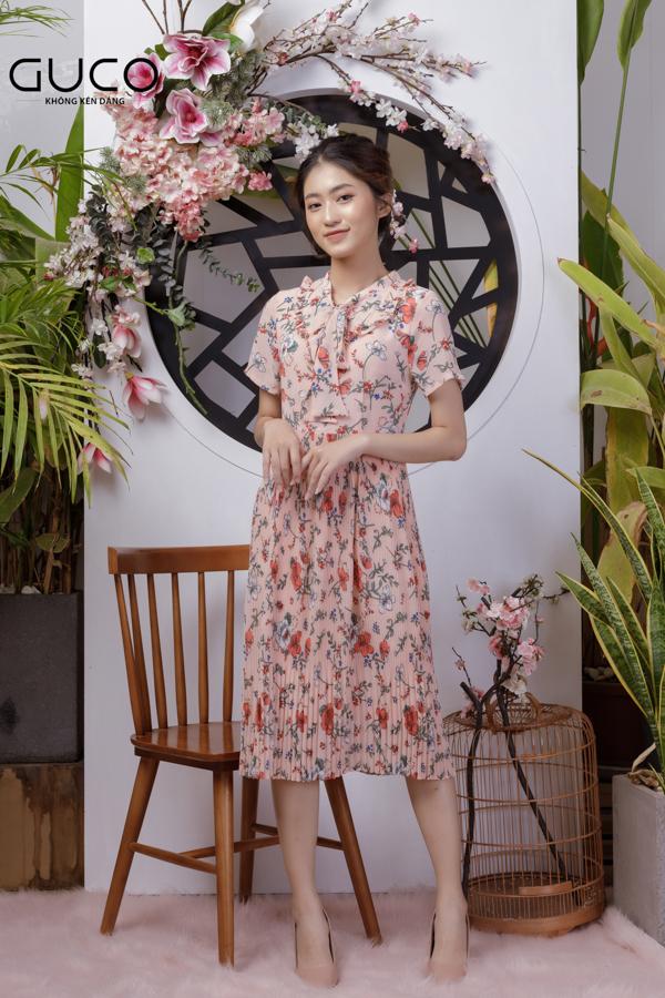 Đầm xòe hoa dập ly 1783 màu hồng