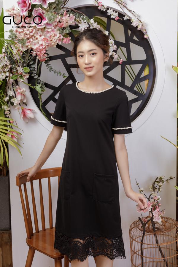 Đầm suông 1785 màu đen có đính ngọc và phối ren