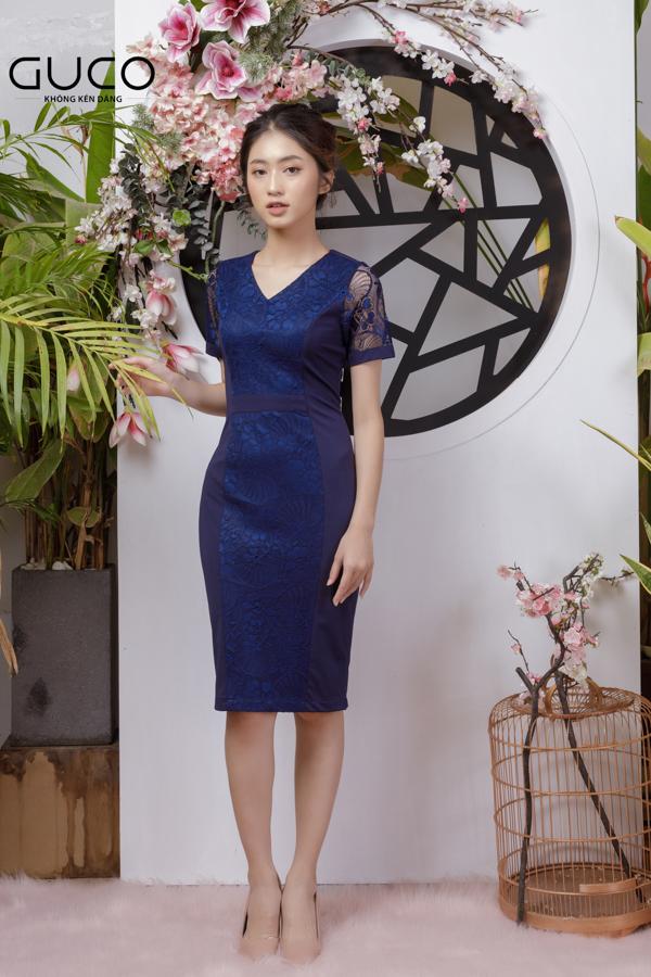 Đầm ôm body có phối ren cao cấp 1790 màu xanh